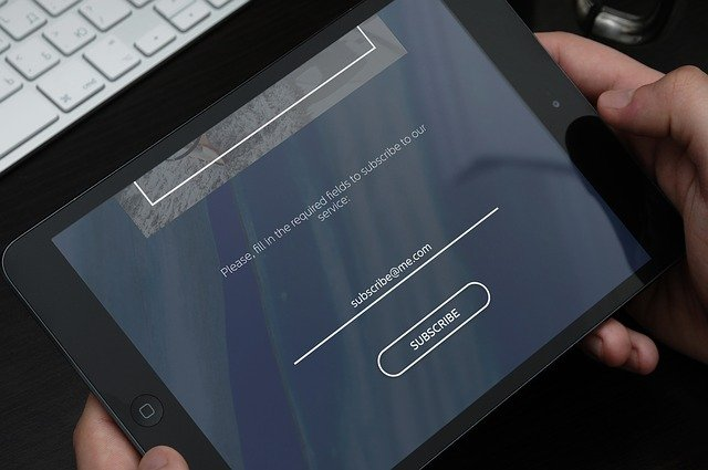 subscription screen on tablet - access control