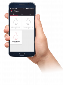 Hand holding phone showing Sera4 access control app